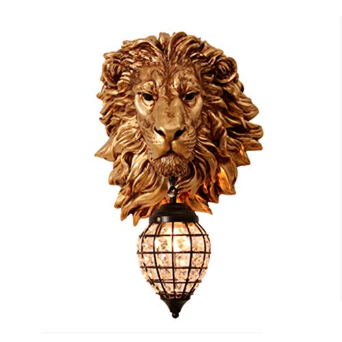 Towero Lámpara de Pared Retro Personalidad Dorada Cabeza de león lámpara de Pared Pasillo Barra de la Sala de Estar KTV Fondo Pared tailandesa lámparas Decorativas