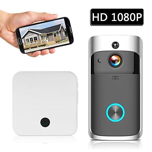 Securome Smart HD 1080P Videoportero inalámbrico WI-FI Videoportero Timbre visual Timbre WIFI Cámara de timbre para apartamentos Alarma IR Cámara de seguridad inalámbrica con baterías y 2 campanas Neg