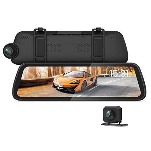 BOSCAM R2 9,35″ Spiegel Dashcam mit 1080P Rückfahrkamera, Dashcam Auto Vorne und Hinten mit Nachtsicht bei Sternenlicht, Autokamera mit Streaming Media, GPS-Tracking, G-Sensor, Parküberwachung, HDR