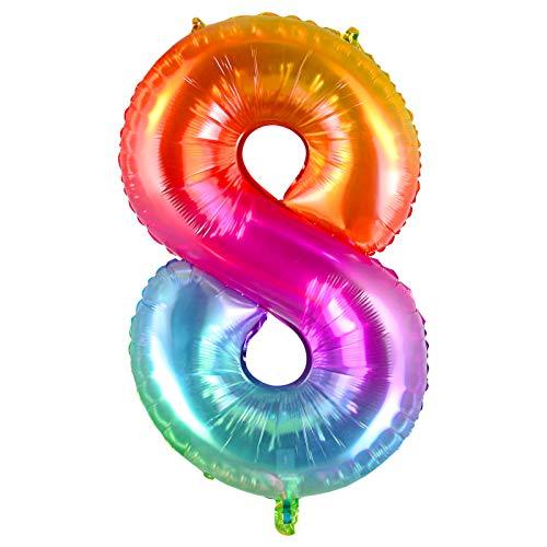 Siumir Numero Palloncino Gelatina Palloncino Foil Gigante Palloncini Numero 8 Decorazione Festa di Compleanno