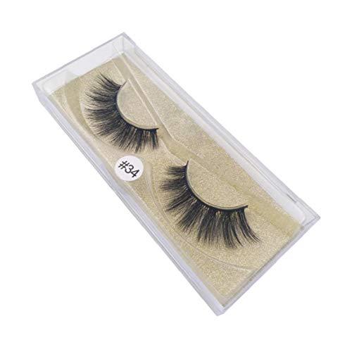 1pair 3D Artificial Mink Wimpern Attraktiver Handgefertigte langer Cross-Faser natürliche weiche Locken-Augen-Peitsche-Art-Erweiterung für Frauen Style-34