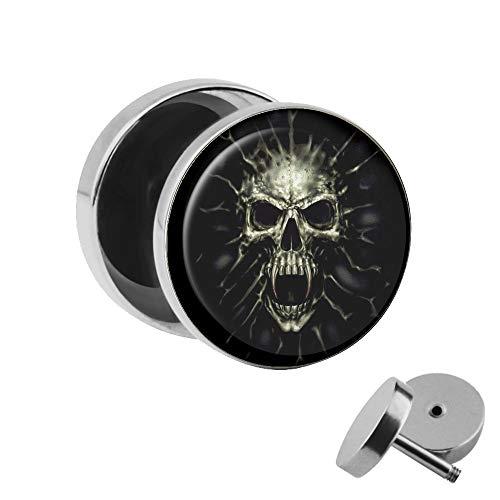 Treuheld® | Totenkopf Ohrstecker - Screaming Skull | 10mm | Chirurgenstahl 316L | Gothic Motiv Fake Plug Ohrring mit Gewinde zum Schrauben | Schwarz