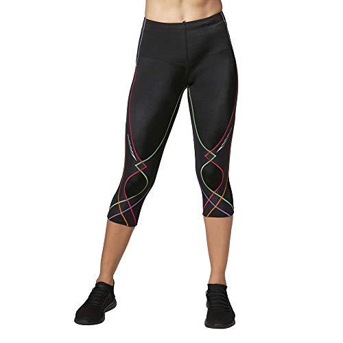 CW-X Conditioning Wear Women's 3/4 Length Stabilyx Tights, Black Rainbow, Medium