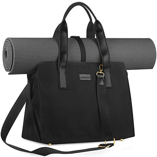 CHICECO 27L Large Gym and Work 2-IN-1 Tote Bag Yoga Carryall Duffle Bag, Black ( Yoga Mat Not Included)