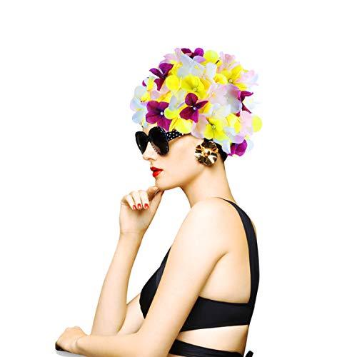 WINOMO Mujeres Floral Petal Swim Cap Gorro de natación de la Flor Gorro de baño Gorras de baño con Estampado de Flores en Relieve Apto para el Pelo Corto Largo
