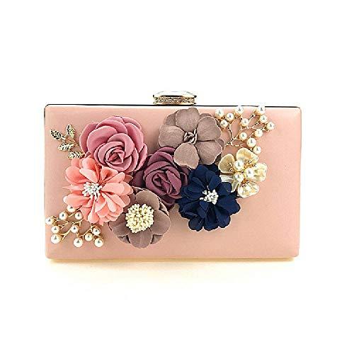 ZLYCP Bolsa de mano hecha a mano con flores para cena, bolso de mano,