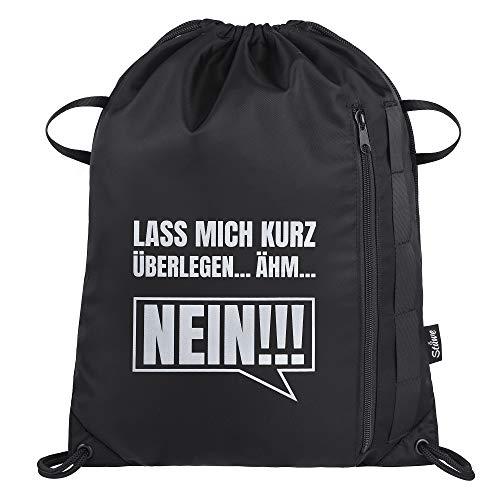 JUNSTAR Wasserdicht Turnbeutel Optik with Sprüchen Sporttasche mit innentasche für Herrn Damen Junge Schwarz