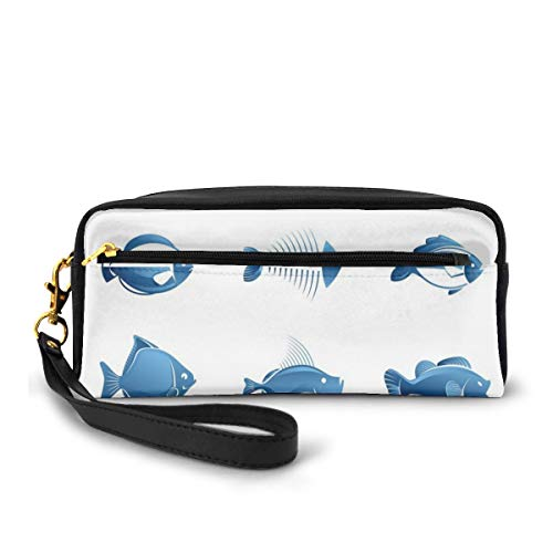 Pencil Case Pen Bag Pouch Stationary,Array Of Fish Silhouettes Marine Life Sea Ocean Related Images Pattern Fish Bones,Small Makeup Bag Coin Purse
