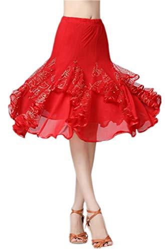 NFACE Eleganter Ballsaal Latin Party Long Swing Stufenrock für Damen Rot