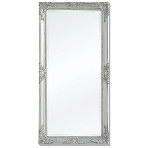 Festnight Espejo de Pared Estructura de Madera Estilo Barroco 120 x 60 cm Plateado