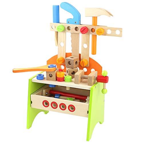 Werkbank Kinder Holz Spielzeug ab 3 4 5 6 Jahre Jungen Mädchen,40 Stück Kinderwerkbank mit Zubehör Multifunktionale Rollenspiele Konstruktionsspielzeug Kinderspielzeug