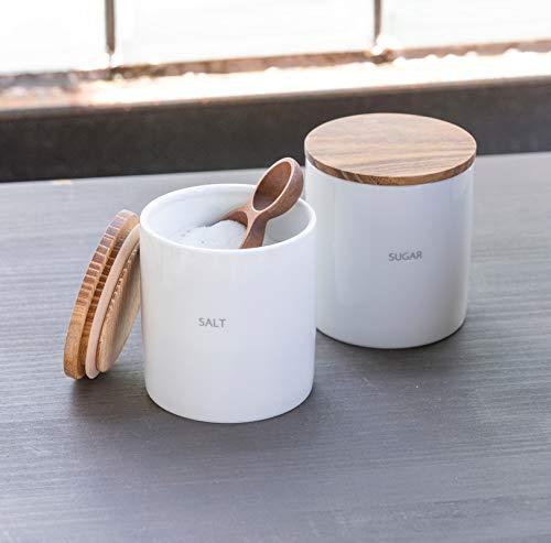 LOLO保存容器キャニスターセットBS08日本製陶器SALIUチーク(SETSALT-SUGAR-大さじ小さじ)