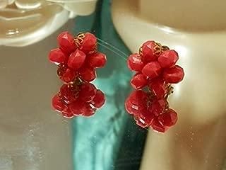 XX Sassy Vintage 1960's West Germany Lucite Lovely Flower Clip Earrings