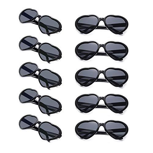 10 Packs Neon Colors Wholesale Heart Sunglasses (Black)
