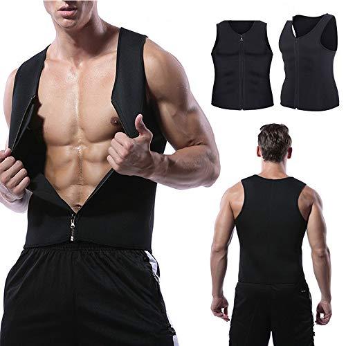 XDSP Faja Reductora Hombre Adelgazante Corsé con Cremallera Camiseta Termica, Compresión Desarrollo Muscular Quema Grasa Pérdida de Peso Sudoración Cremallera para Hombre (Black, M)