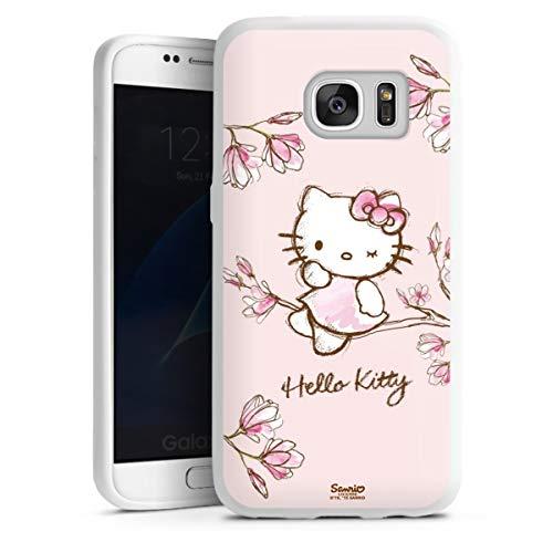 DeinDesign Silikon Hülle kompatibel mit Samsung Galaxy S7 Hülle weiß Handyhülle Hello Kitty Fanartikel Hanami