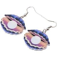 ZHENZHIA Pendientes Ligero, único, Grande, Pendientes de impresión para el Regalo de Las Mujeres de Moda océano joyería Animal de acrílico