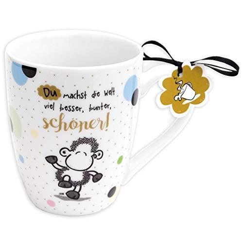 Sheepworld 59601 Lieblingstasse, Du machst die Welt schöner, Porzellan, 30 cl Tasse, Weiß, Mehrfarbig