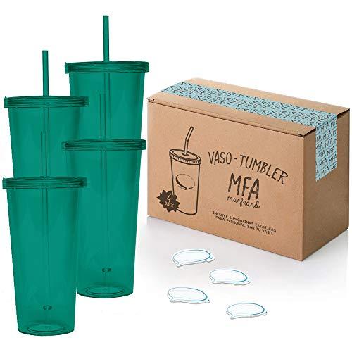 Vasos de Plástico Duro con Tapa y Pajita - Libre de BPA - Incluye Pegatinas Reutilizables y eBook de Coctelería - Set de 4 Vasos plasticos reutilizables de 700 ml - Marfrand (Verde)