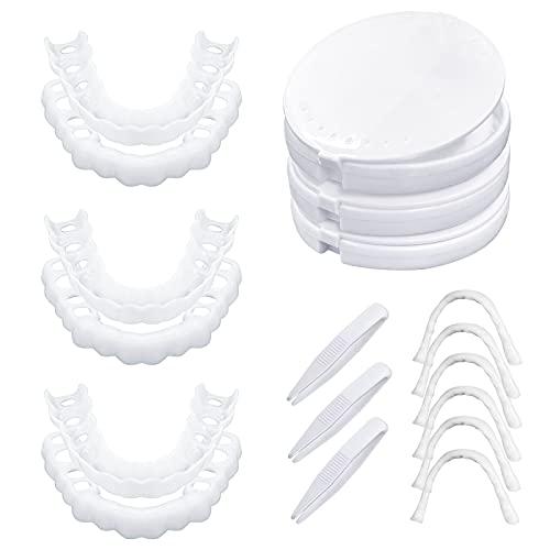 3 Pairs Veneer Teeth, Fake Teeth, Instant Veneers Dentures for Men and Women,Fix Confident Smile