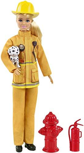 Barbie Bombera Muñeca con Traje de bombera, Perrito de Juguete y Accesorios...