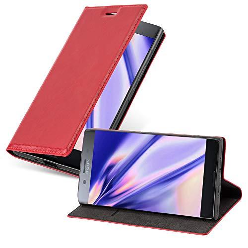 Cadorabo Hülle für Sony Xperia XZ Premium in Apfel ROT - Handyhülle mit Magnetverschluss, Standfunktion & Kartenfach - Hülle Cover Schutzhülle Etui Tasche Book Klapp Style