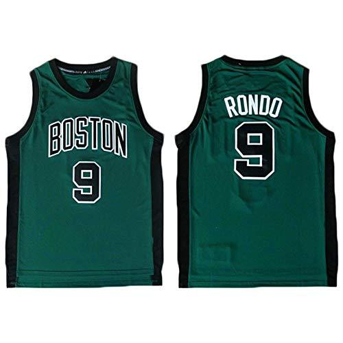 BXWA-Sports Rajon Rondo Jersey di Pallacanestro Boston Celtics # 9 Maglie Senza Maniche Traspirante Retro Sport T-Shirt Maglia Felpa Neutral,S(165~170CM/50~65KG)