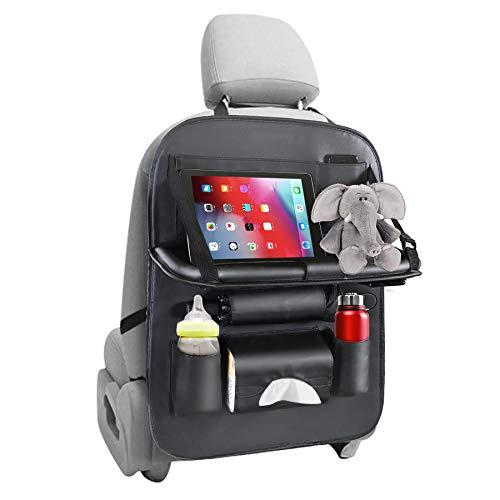 Auto Rückenlehnenschutz, Multifunktionale Autositz Organizer, Wasserdicht Autositzschoner Rückenlehne für kinder mit Sacks, Kick-Matten-Schutz für Autositz, Tablet/Telefon Aufbewahrung(1 Stück)