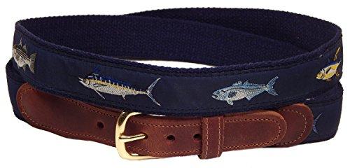 Navy Blue Four Fish Striped Bass, Bluefish, Marlin, Yellow-Fin Tuna Men's Belt (44)