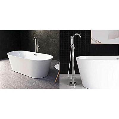 "WOODBRIDGE 67"" Acrylic Freestanding Bathtub Contemporary Soaking Tub with Brushed Nickel Overflow and Drain, B-0013 / BTA1513 & Bathtub Faucet B, F-0001 Brushed Nickel"
