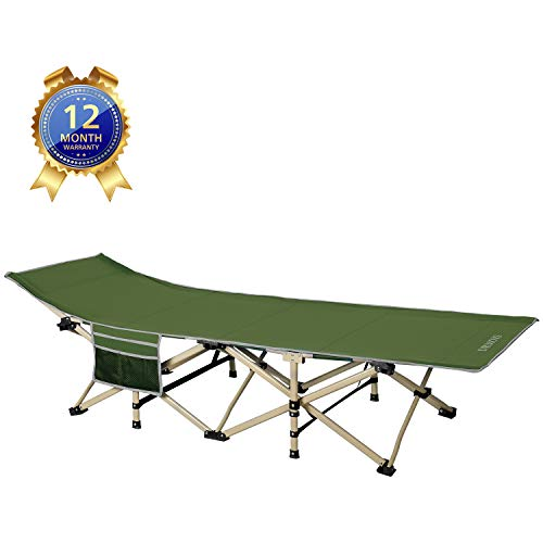 DRMOIS Camping Betten Feldbetten Klappbar, max Statische Belastbarkeit 260 kg Campingliege für Outdoor Camping Reisen Home Lounging Verwenden - Armeegrün