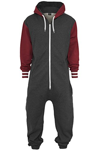 Urban Classics Herren College Sweat Jumpsuit Regular Fit, Farbe charcoal/ruby - 2