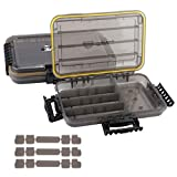 RUNCL Fishing Tackle Box, Waterproof Storage 10.65' L x 7.1' W x 1.89' H - Thicker Frame, Waterproof Seal, Secure-Locking Latches, Sun Protection, Removable Dividers - Storage Organizer (Pack of 2)