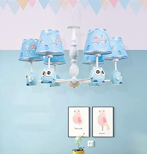 Hanglamp voor kinderen, kroonluchter, lampenkap van stof, versierd met levende uilen voor kinderkamer baby meisjes jongens E27 (A++)