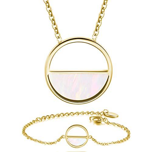URBANHELDEN - Schmuck-Set: Kette u. Armband mit rundem Perlmutt Anhänger - Damen Schmuckset: Shell Halskette u. Armkette - Amulett u. Armschmuck Perlmutt Geschenk-Set - Gold
