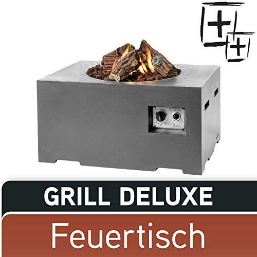 M A N I A Feuertisch Grill Deluxe Set - Gas Feuerstelle ohne Rauch, Funken, Glut & Asche - Gaskamin Outdoor mit 12 kW in Betonoptik grau 80 x 60 x 40 cm - Gasfeuerstelle Terrassenkamin Kaminfeuer