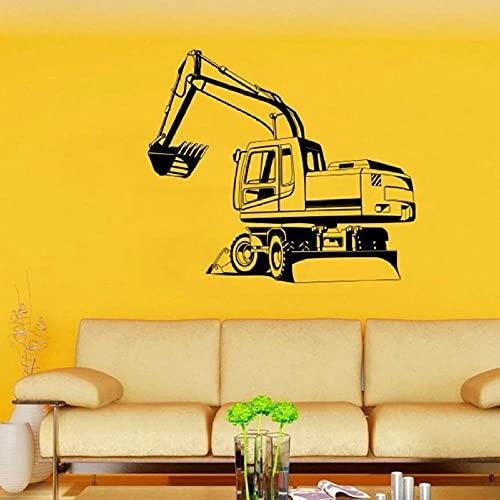 Pegatinas de pared excavadora de vinilo para habitación de niños, decoración de pared, decoración del hogar, decoración de dormitorio, pegatinas extraíbles para niños, 64 x 56 cm