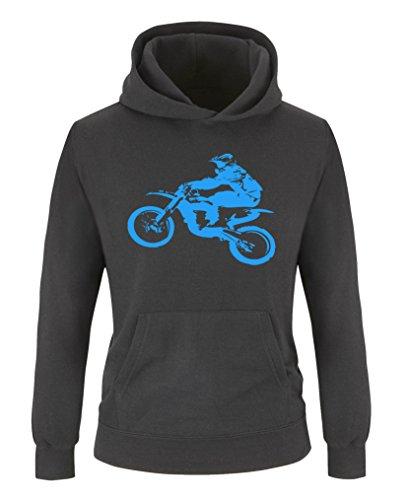 Comedy Shirts - Motorcross Motorrad - Jungen Hoodie - Schwarz/Blau Gr. 122/128