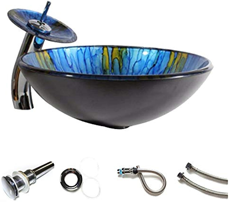Jiaa Gehrtetes Waschbecken Aus Gehrtetem Glas, Badezimmer Blau Lavatory Bowl Wasserhahn Set