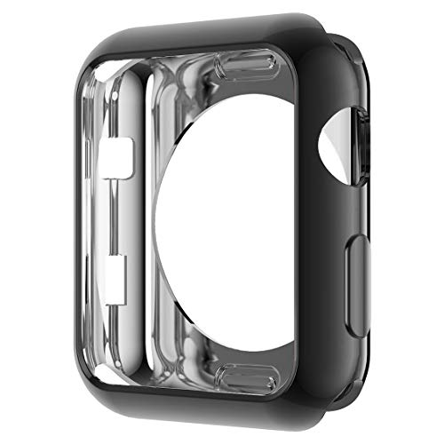 Apple Watch ケース 42mm メッキ TPU 通用形 カバー 柔軟 耐衝撃性 超簿 脱着簡単 傷付き保護プロテクターバンパーApple iWatch アップルウォッチ シリーズ 3 2 1 (42mm, 黒)