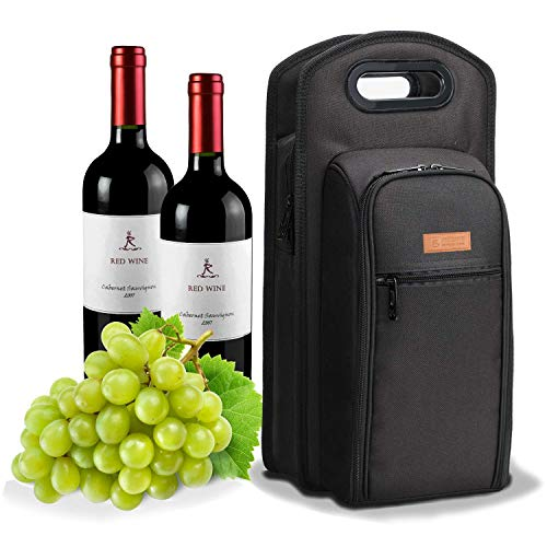 ALLCAMP Deluxe Wine Bag mit Weinzubehör, Weintragetasche für Zwei Personen (Schwarz)