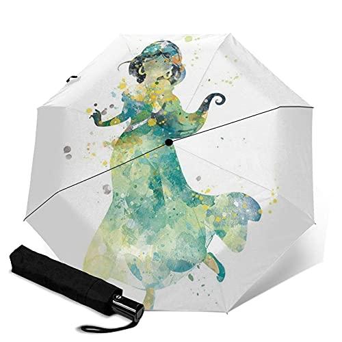 Paraguas plegables Aladdin Magic Lamp Jasmine Paraguas automatización Portátil de tres pliegues, compacto y Portátil, plegable, resistente al viento, impermeable y anti-UV