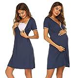 Ekouaer Camisón de maternidad para mujer, con cuello en V y manga corta, tallas S-XXL azul marino M