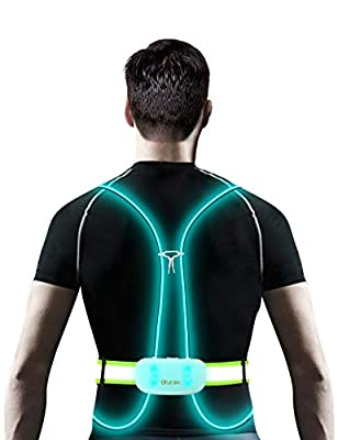 Olook Multicolored LED Reflective Running Vest Light with Adjustable Belt Non-Slip Off Fiber Optics USB Rechargeable Safety Gear for Women Men Kid Running Cycling Walking, M-Green (Patent Pending)