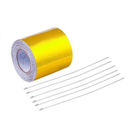 YSHtanj Heat Reflecterende Tape Interieur Decoratie Tape 5m Hoge Temperatuur Warmte Reflecterende Tape Lijm Achterkant Motor Bescherming Wikkel - Zilver goud