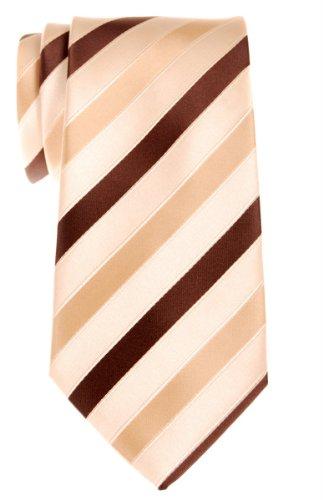 Retreez Corbata de microfibra a rayas tricolor para hombres Amarillo y marrón