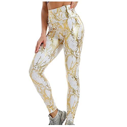 Junjie Mujeres Pantalones Deportivos de Estampado de Serpiente para Yoga Leggins de Cintura Alta Elásticos Leggings de Levante los Cadera Mallas Absorbentes y Transpirables Pantalón de Deporte