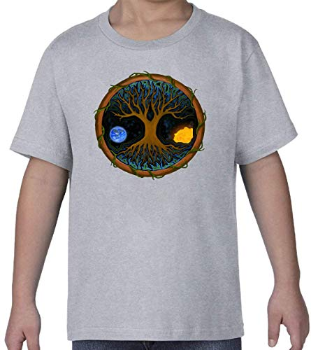 Astral Tree of Life Cosmic Sun and Earth Gris Kids Crew Neck T-Shirt L