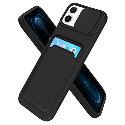 IEMY Funda para iPhone 12/12 Pro Deslizante Cámara Proteger con Tarjetero Cartera para Porta Tarjetas Carcasa Anti Arañazos Protección Cubierta cámara Case - Negro