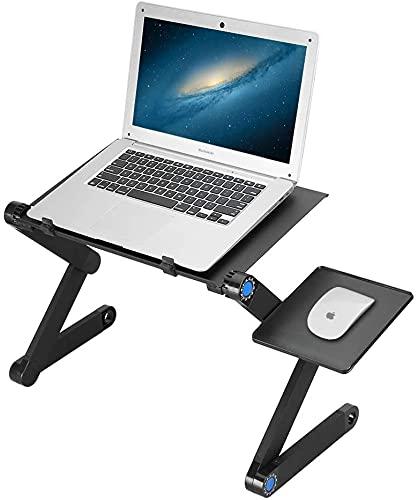 Aluminum Alloy Folding Computer Desk Stand , Adjustable Laptop Desk Stand, with Ergonomic Mouse Pad, Aluminum Alloy Folding Table for Bed, Sofa, Bed Desk Reading(Black)